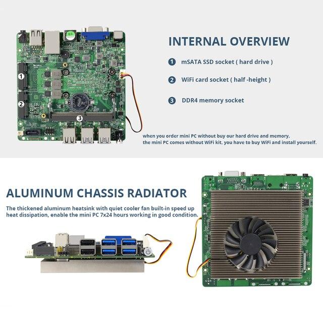 Mini PC Intel Core i3 8130U i5 8250U i7 8550U DDR4 Windows 10 4K UHD HDMI VGA 8xUSB WiFi Gigabit Ethernet HTPC Office Computer 5