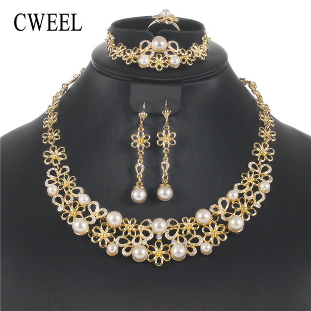 CWEEL Jewelry Sets Luxury Turkish Jewelry Vintage Bridal Wedding