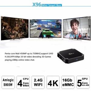 Image 5 - Европа Доставка из Испании Франция 10 шт X96mini Smart TV BOX X96 Mini Android 7,1 Amlogic S905W 2,4G WiFi телеприставка