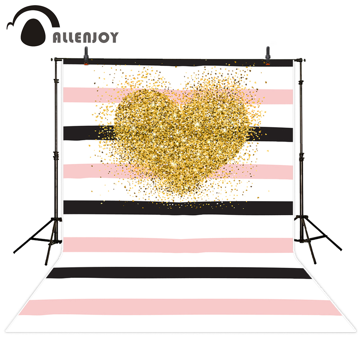 Allenjoy photography backdrops Valentine's Day golden heart strips pink photo background vinyl photography studio backgrounds allenjoy photography backdrops valentine s day heart love pink bokeh wedding photography background for studio photo background