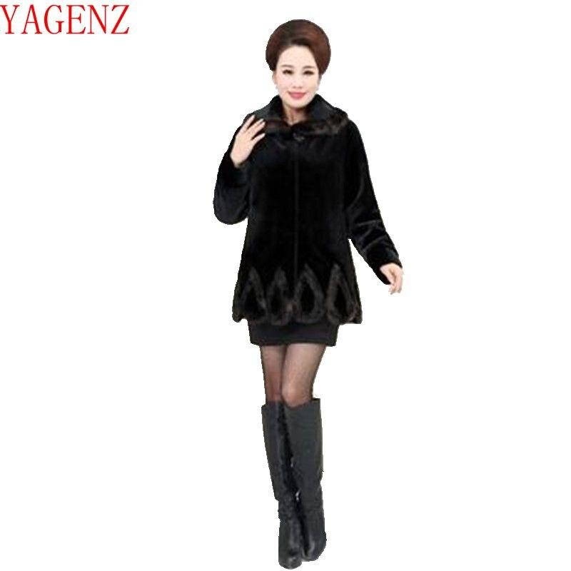 Grande Garder Au Vison D'âge wine Tops Yagenz Imité New Manteau Black Red Vêtements De Chaud Taille Fourrure Moyen High Mode grade Kg609 Hiver Femmes Nnm08wOv