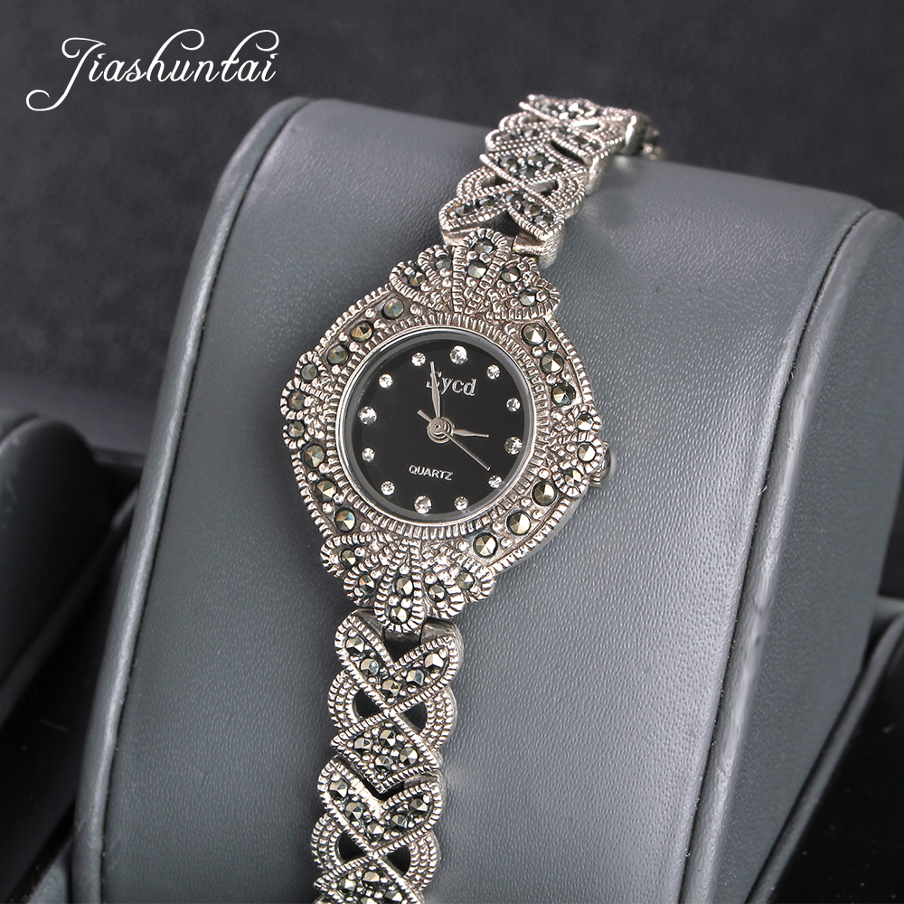 JIASHUNTAI Retro 100 925 Sterling Silver Watch For Women Vintage Thai Silver Watchs Jewelry Gifts