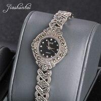 JIASHUNTAI Ретро 925 пробы 100% серебряные часы для женщин Винтаж тайский серебро Просмотрам ювелирные подарки