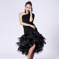 Women New Fashion Latin Dance Costumes Hot Splicing Flower Latin Costumes Long Sleeves Latin Dance Performance