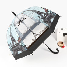 British Wind Series Umbrella Eiffel Tower Umbrella Transparent Thickened Apollo Bird Cage Umbrella Straight Handle Umbrella