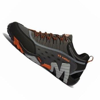 ผู้ชายกีฬากลางแจ้งรองเท้ากันน้ำการล่าสัตว์ trekking รองเท้าผ้าใบรองเท้า breathable หนัง trail รองเท้าปีน