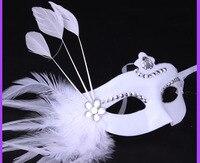 2016 yeni Masquerade Kostüm Karnaval Parti Balo Maskesi Cadılar Bayramı maskesi Beyaz Tüyler Noel