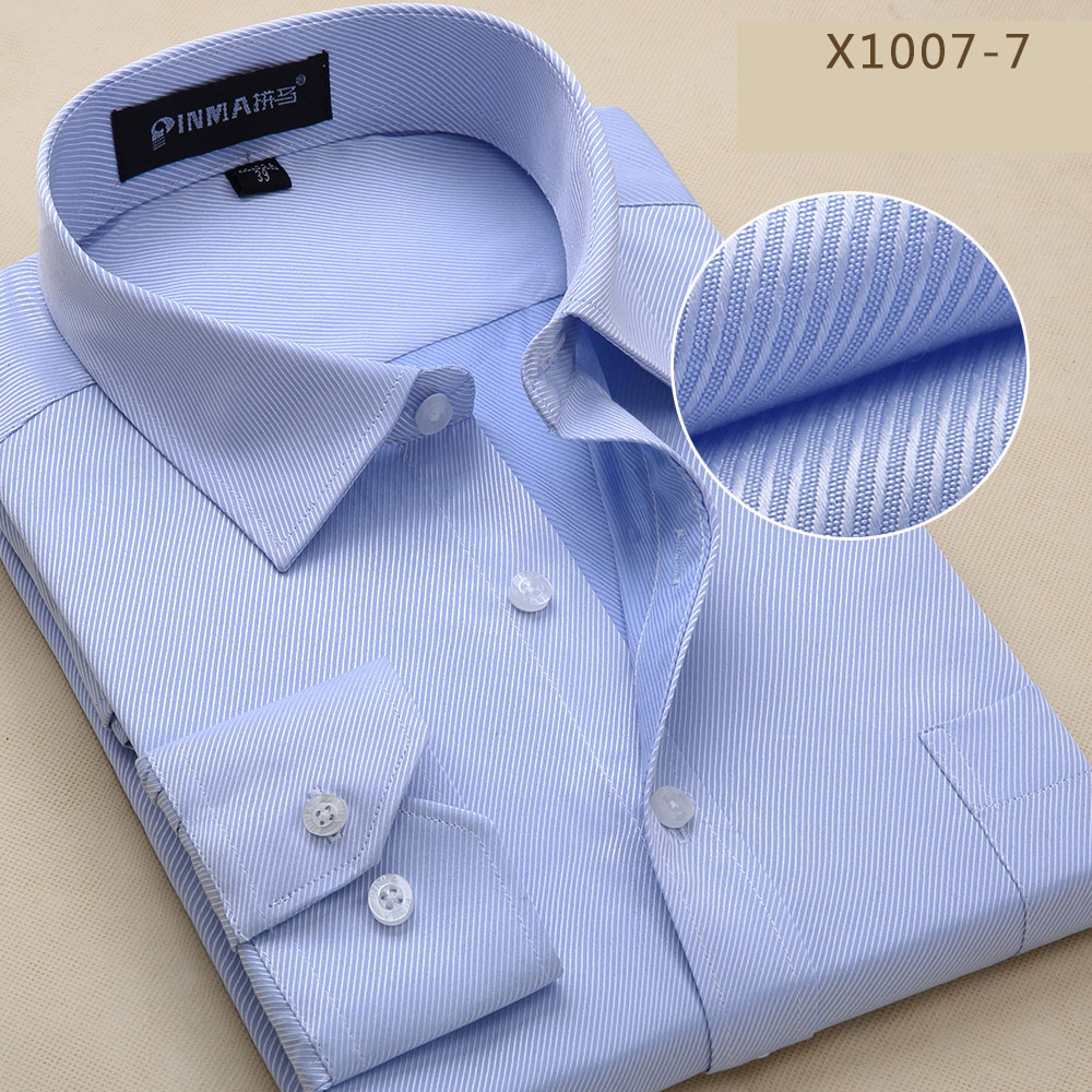 2017 New Fashion High Quality Casual Long Sleeve Slim Men Dress Shirt Solid Male Clothing Fit Business Shirts PM001