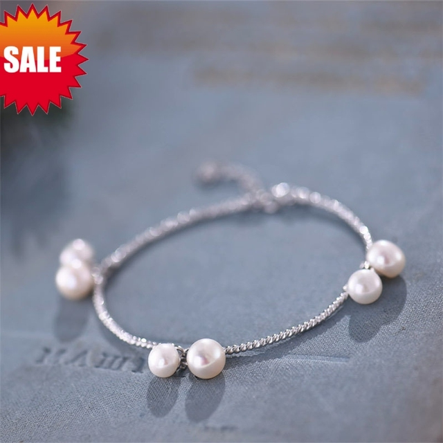Women Chain & Link Bracelets / 925 sterling silver and freshwater pearls / Unique Handmade Original design