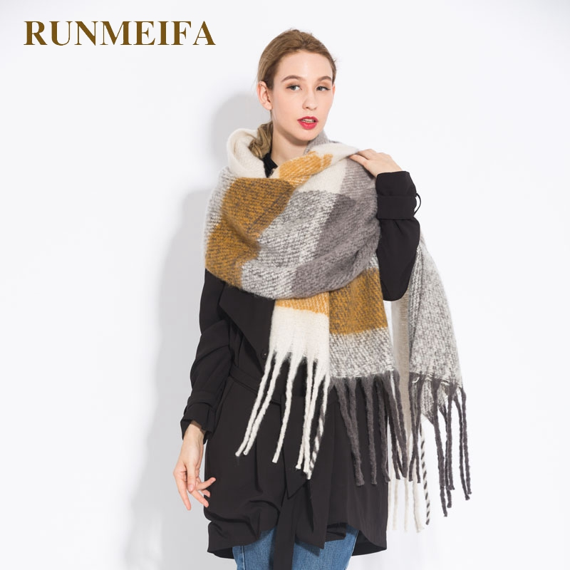 RUNMEIFA New Fashion Plaid   Scarves   Warm Shawls and   Wraps   For Women Winter Luxury Brand Wool Pashmina Foulard Femme Long Tassel