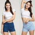 New Summer Women Slim High Waist Denim Jeans Short Hot Tight A Side Button Shorts  High-quality