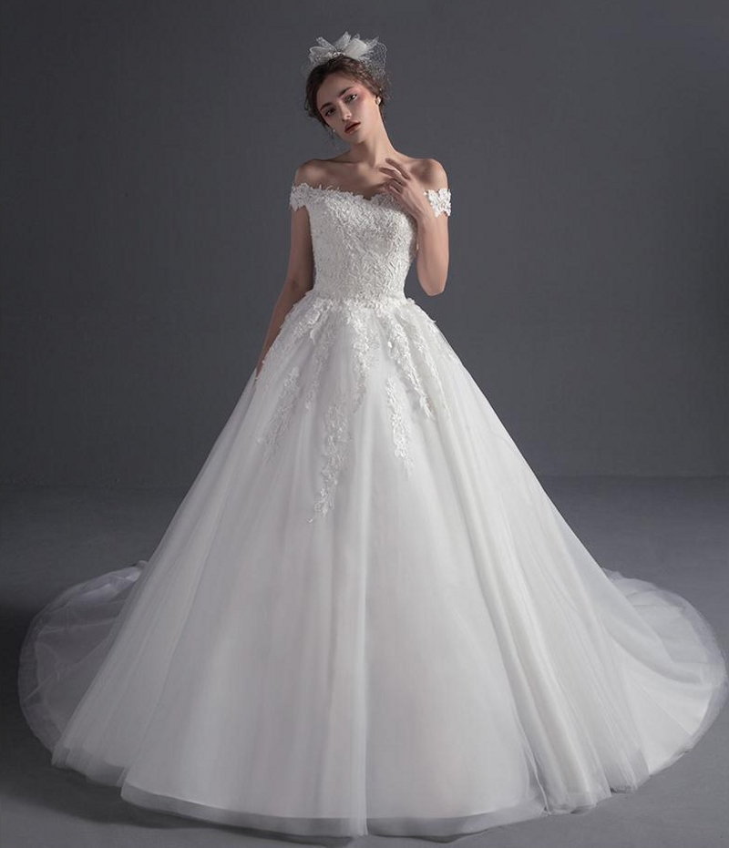 Modern Luxury Wedding Dresses 2017 Off the Shoulder Beading Lace ...