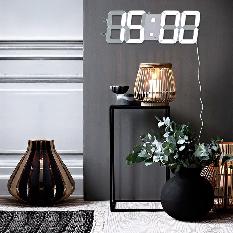 45x15 cm grande LED horloge murale numérique, capteur de lumière Intelligent grandes horloges murales, bureau à domicile Jumbo décor mural 2019 TXL