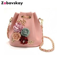 Floral Bucket Bag Pochette Small Shoulder Sling Messenger Bag Chain Women Summer Lady Female Bag Women