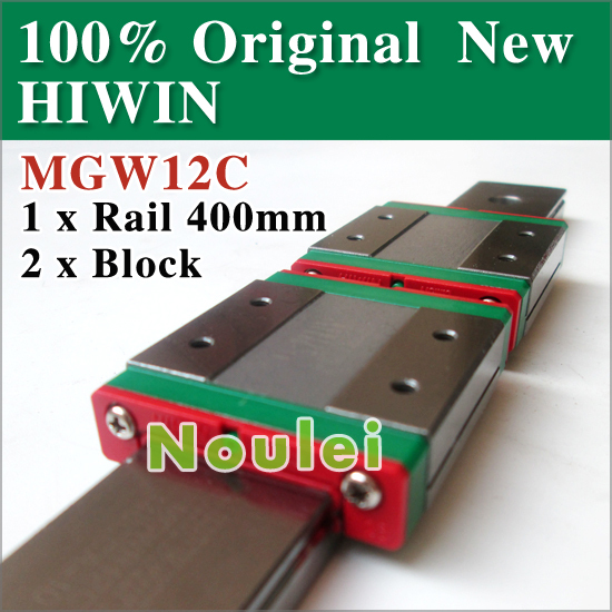 HIWIN 2pcs MGW12C linear slide block with MGWR12 guide rail 400mm from taiwan cnc parts MGW 12 series 24 mm free shipping to japan cnc hiwin 4 stes egh20ca 1r2380 zoc dd block rail set rail linear guide from taiwan