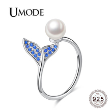 UMODE 2019 925 Sterling Silver Simulated Pearl Adjustable Open Rings for Women Blue Zircon Diamond Mermaid Tail Jewelry ALR0747