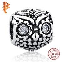 BELAWANG New Rhinestone Eye Animal Owl Charms European 925 Sterling Silver Bead Fit Original pandora Bracelets&Necklace Jewelry