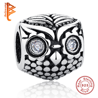 2016 New Fashion Rhinestone Eye Animal Owl Charm European 925 Sterling Silver Bead Fit Pandora Bracelets