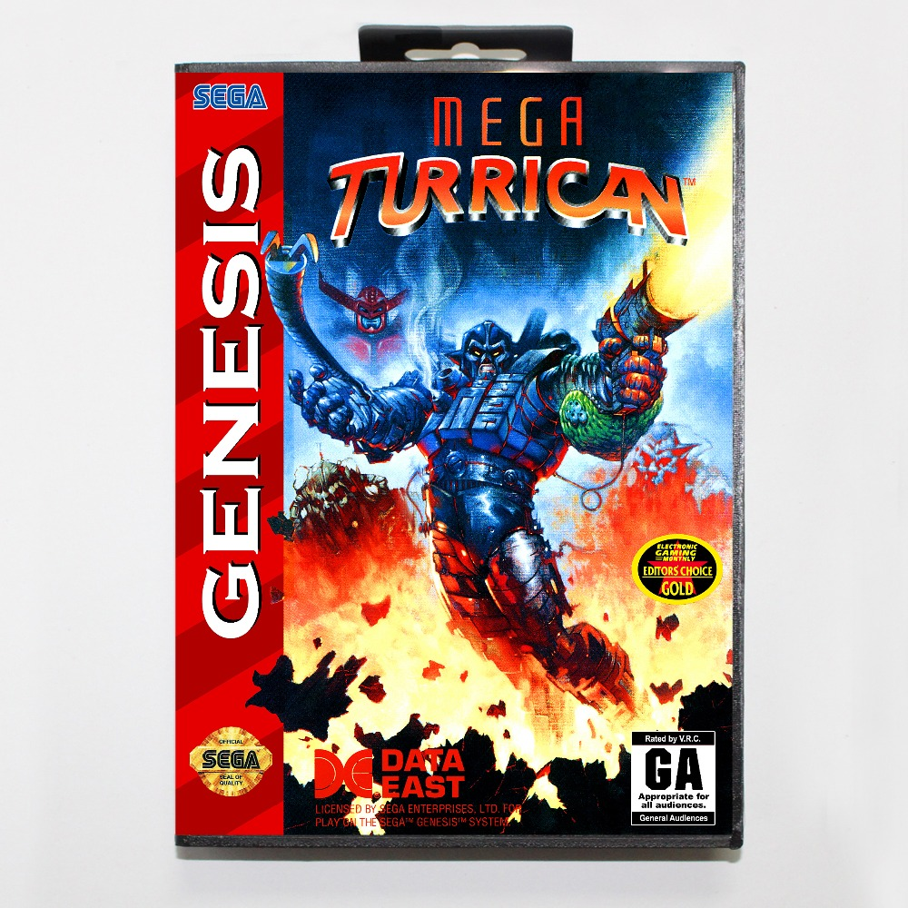 New 16 bit MD game card - mega turrican with Retail box For Sega genesis system
