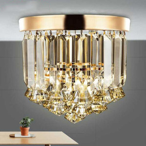 Image 2 - Crystal ceiling Lights Champagne OR Clear Stainless Steel Round Crystal ceiling Lights Design for the Hotel Lobby bar cafe shop
