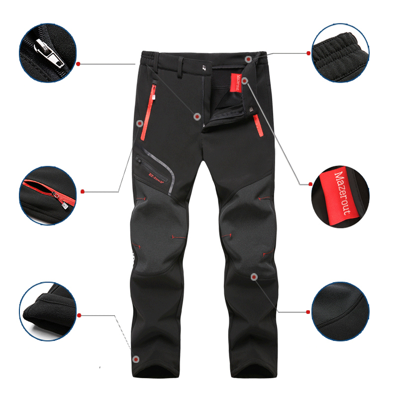 Uomo oversize Plus size inverno Softshell pile pantaloni da esterno Trekking Fish Camp arrampicata escursionismo sci pantaloni da viaggio caldi nave libera 2