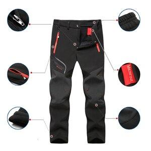 Image 2 - Мужские флисовые наружные брюки большого размера плюс, зимние треккинговые рыбацкие брюки, теплые туристические брюки для походов, лыж, бесплатная доставка