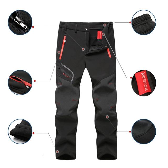 Men Oversized Plus size Winter Softshell Fleece Outdoor Pants Trekking Fish Camp Climb Hiking Ski Warm Travel Trousers Free ship Others Men's Fashion