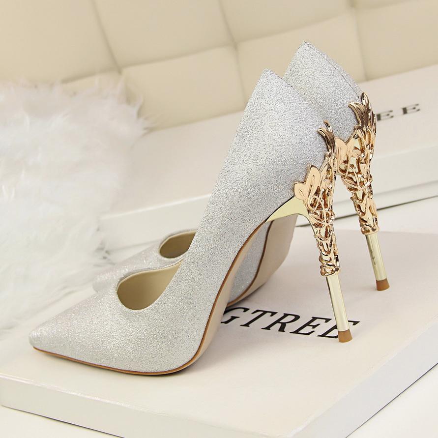Women Stilletos Sequined high heel metal thin shoes
