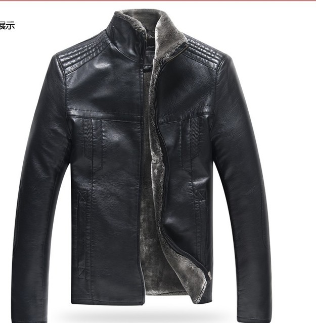 Free shipping ! men's Winter brand Fur one piece thicken leather clothing slim Leisure PU overcoat leather jacket / M-5XL
