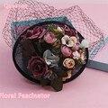 Corea Novia de La Boda Sinamay Sombrero Y Velo de Fascinator Hecho A Mano de Flores de Tela Pinza de Pelo Vintage PartyFascinator Mujeres Headwear Nuevo