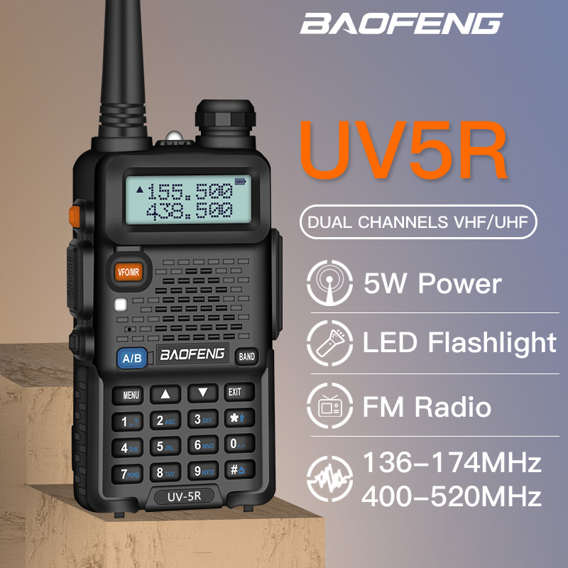 BAOFENG UV 5R Walkie Talkie Professional CB Radio 5W UV dual band two way radio for talkie walkie in moscow Hunting Ham Radio-in Walkie Talkie from Cellphones & Telecommunications