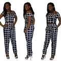 2016 new fashion high quality women summer sexy club black short sleeve plaid print cropped tops and pants two pieces sets suits
