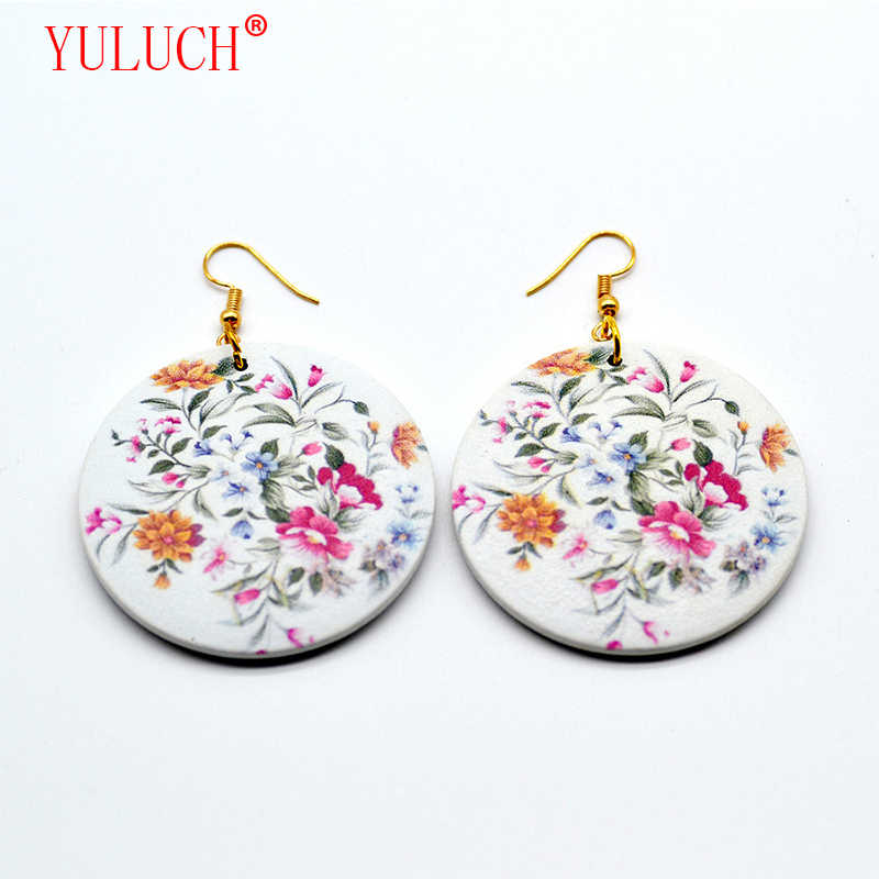 YULUCH 2018 Fashion new wood round color printing fresh multicolor flowers for cute women jewelry accessories earrings gift