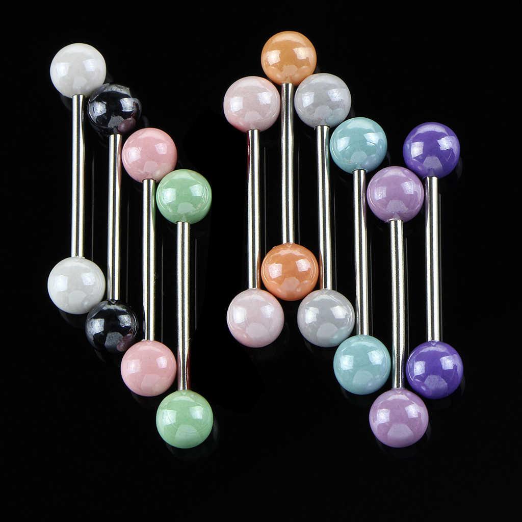 Phenovo 10Pcs נירוסטה נשים מדהים אקריליק טבור טבעת שפתיים לשון בטן בר גוף פירסינג תכשיטים