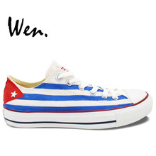 Wen Unisex Hand Painted Shoes Custom Design Cuba Flag Men Women's Low Top Canvas Shoes Painted Shoes Christmas Birthday Gifts