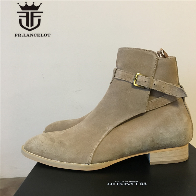 High End Handmade Cow Suede Genuine Leather MID High Ankle Strap Wedge Boots Real Picture beige luxury Men Street Chelsea Boots 2017 luxury handmade pointed toe ankle fringe tassel short boots high end designed men genuine leather suede boots