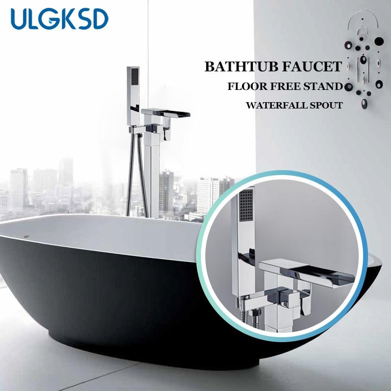 ULGKSD напольная подставка ванной кран Chrome/ORB латунь одной ручкой двойной Управление ванной кран Para Ванная комната Душ напольные