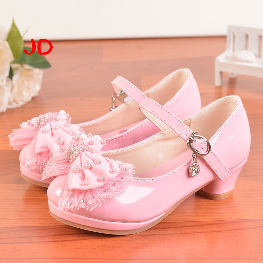 Spring Single Shoes Cloth Bow Princess Children Girls Baby Childrens High Heel Shoes Girl Shoes New