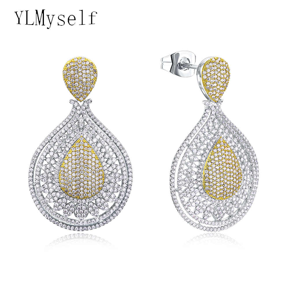2018 big water drop earring 2 tone white and gold color jewelry high quality micro pave cubic zirconia wedding party earrings