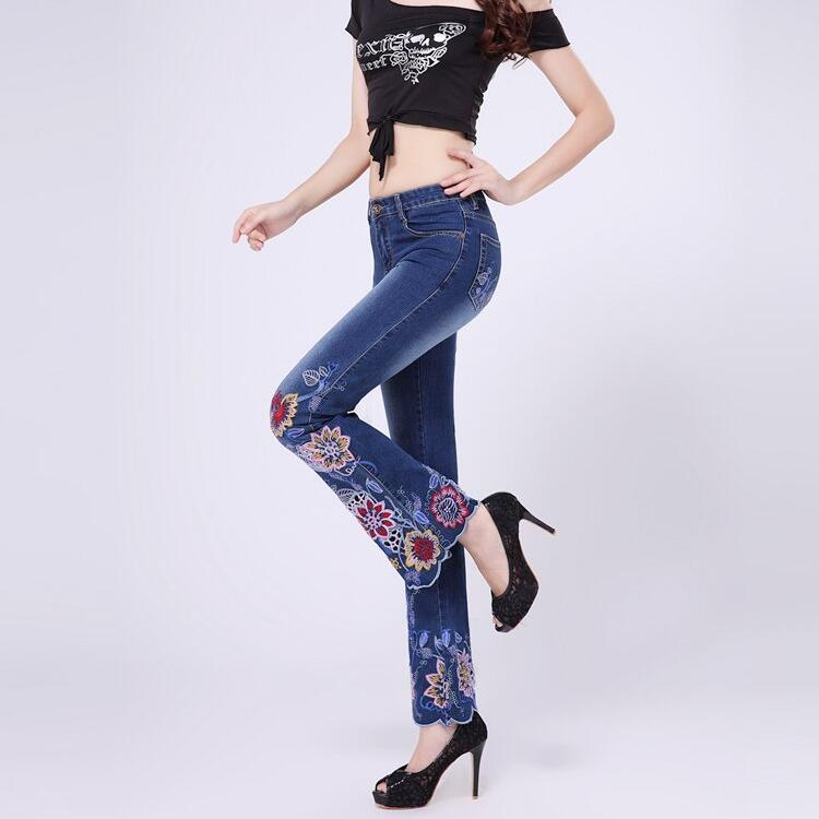 China National Trend Hand Embroidery Slim Elastic Low Waist Bell Bottom Jeans Plus Size Flower Flared Boot Cut Denim trousers calida elastic trend бюстье розовый