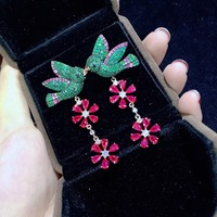 925 sterling silver with cubic zircon birds and flower drop earring green color and red mixed fashion women jewelry for party