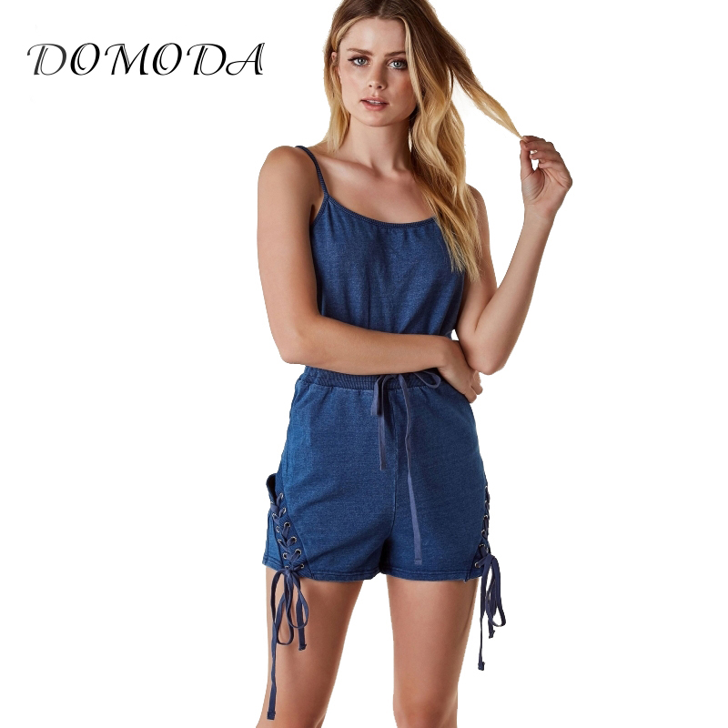 DOMODA Store DOMODA Apparel 2017 Summer Women Rompers Casual Solid Color Drawstring Side Female Jumpsuit Streetwear Brief Lady Playsuit