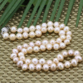 Orange natural pearl beads 7-8mm necklace for women hot sale silver plated clasp chain choker high grade jewelry 18imch B3185