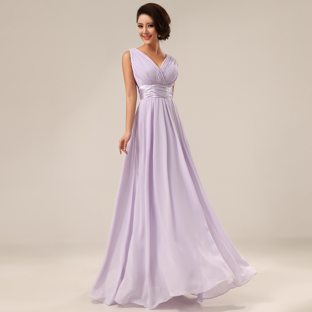 New Fashion Floor length Bridesmaid Dresses Double Shoulders V neck Long Chiffon Wedding Party Dress Drop