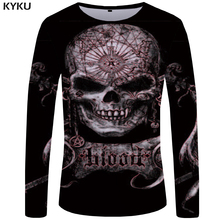 KYKU Skull Long Sleeve T-shirt Women Anime Tshirt Hip Hop Gothic 3d Print T Shirt Punk Rock Womens Clothing Casual Streetwear стоимость