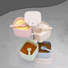 Seasoning Box 360 Degree Rotary Vertical With Spoon Kitchen Stackable Food Container For Salt Pepper