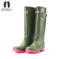 KESMALL 2019 Women Rubber Rainboots Waterproof PVC Work Knee High Rain Boots Flat Anti-slip Rubber Rainy Day Shoes Woman WS583
