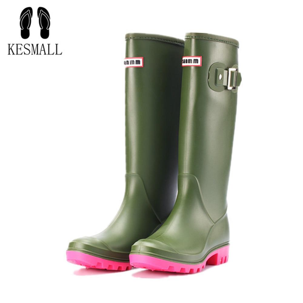 KESMALL 2019 Women Tall Rain Boots Waterproof PVC Work Knee High Rain Boots Flat Anti-slip Rubber Rainy Day Shoes Woman WS583