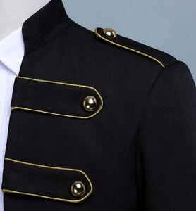 Image 5 - PYJTRL Men Double breasted England Style Long Slim Fit Blazer Design Wedding Groom Suit Jacket Mens Stage Wear Singer Costume