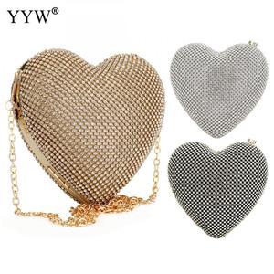 Image 2 - Tam lüks elmas akşam çanta kalp şekli altın el çantası çanta kadın taklidi ziyafet çanta günü debriyaj kadın 3 renk yeni